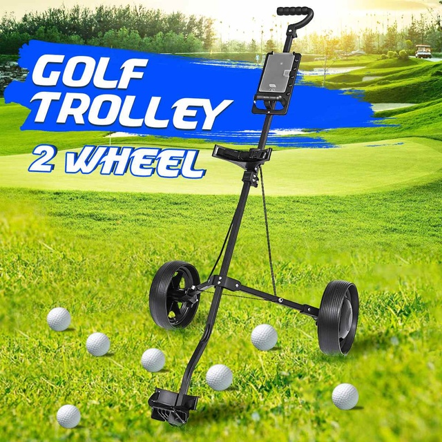 Golf Pull Cart Iron Black Adjustable Golf Trolley Cart 2 Wheels Push Pull Golf Cart Aluminium Alloy Foldable Trolley With Brake 2
