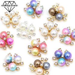 10Pcs Pearl Rhinestone Buttons Vintage Metal Button Alloy Diamante Flower Crystal Buttons DIY Hair Clip/Bows Clothing Decoration
