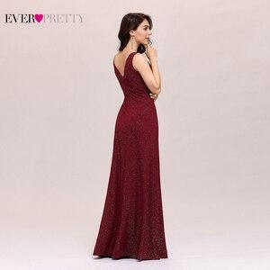 Image 2 - Form Váy Đầm Dạ 2020 Bao Giờ Xinh Xắn Gợi Cảm Một Dòng Chữ V Hở Lưng Gillter Dài Đảng Đồ Bầu Có Chia Năm Mới áo Dây De Soiree
