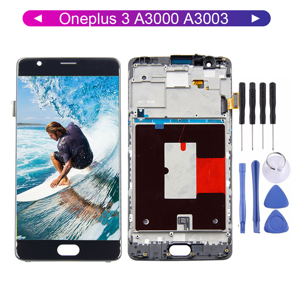 LCD For Oneplus3 Oneplus 3 For Oneplus 3T A3000 A3010 A3003 1 + 3/1 + 3T LCD Digitizer Touch Screen With Frame Replacement Part