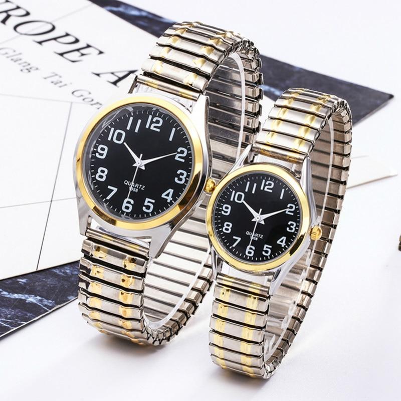 Fashion Business Women Men Elastic Gold Sliver Quartz Black Watch Tide Lovers Couple Party Office OL Bracelet Watches Gift