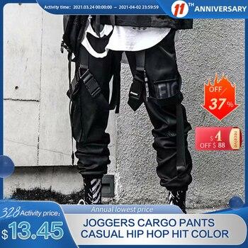 Pantalones Cargo para hombre, pantalones de chándal de estilo informal de Hip Hop con Multi-pocket elástico cintura Harem pantalones hombres Streetwear Punk pantalones Joggers hombres tobillo-longitud Pantalones 1