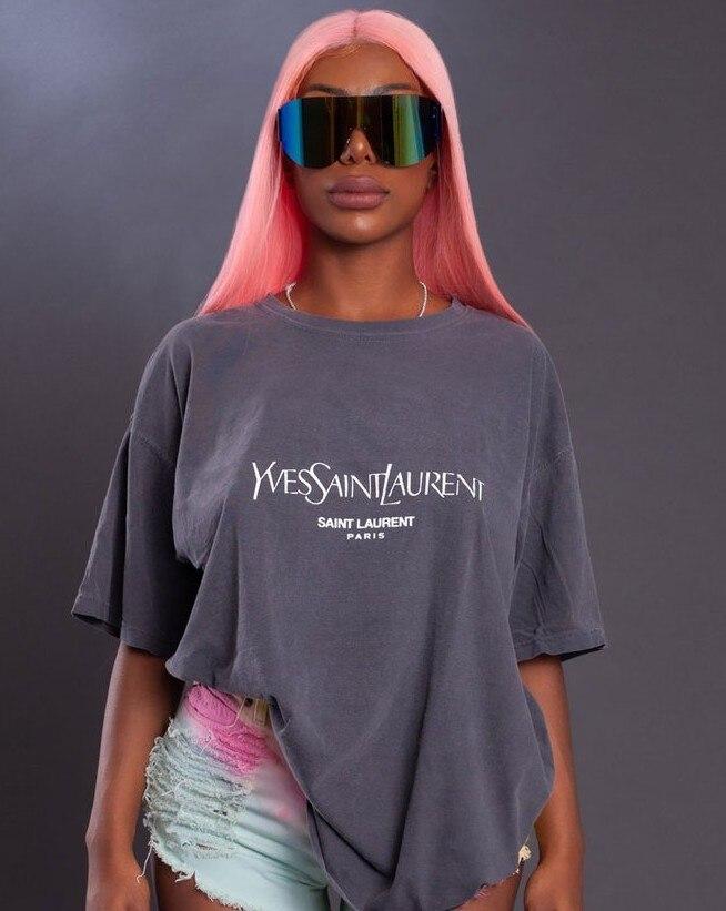 WLWXR Casual Letter Print Oversized T Shirt Women Tops Short Sleeve Green Vogue Summer T Shirt Female Harajuku Loose Tee Shirt