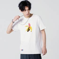 2019 Летняя мужская футболка из чистого хлопка с коротким рукавом Свободная Спортивная классная, с принтом уличная «злой банан»