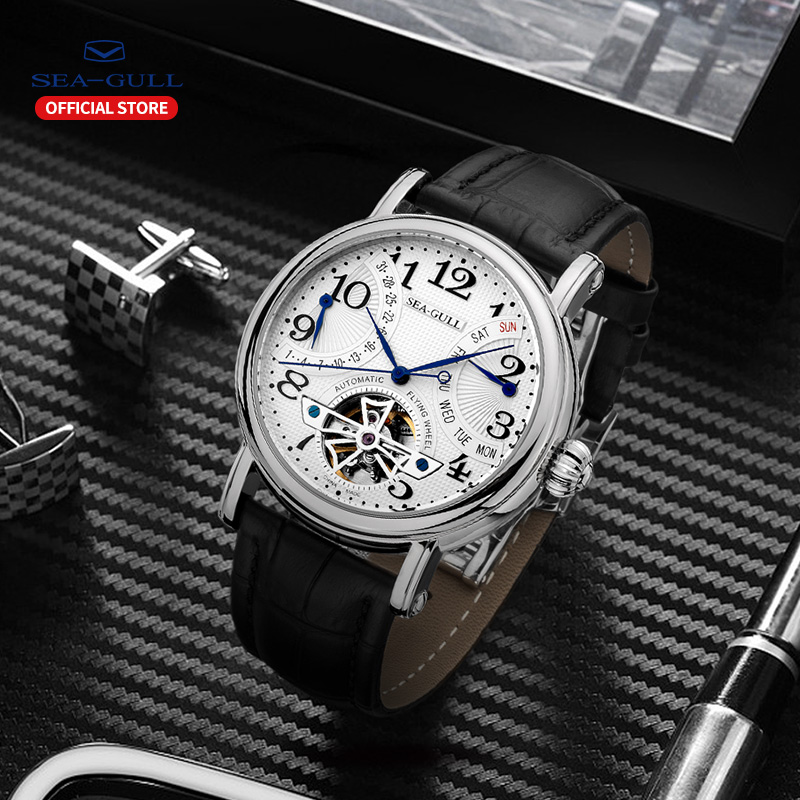 Image 5 - Seagull Business Watches Mens Mechanical Wristwatches Week Calendar 50m Waterproof Leather Male Bracelet Clasp Watch M171SMechanical Watches   -