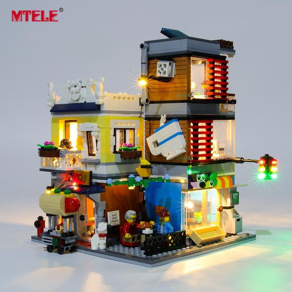 MTELE Brand LED Light Up Kit For CREATOR Townhouse Pet Shop & Café Lighting Set Compatile With 31097