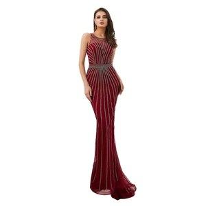 Image 5 - Suknie wieczorowe formalne 2020 suknie na bal maturalny wino czerwone/złote syrenka długa, bez rękawów Crystal Luxury Trail Ladies sukienek eleganckie