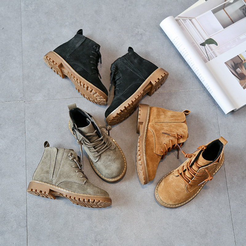 Children Genuine Leather Martin Boots New Children Fashion Cow Muscle Sole Shoes Boys And Girls Baby Boots