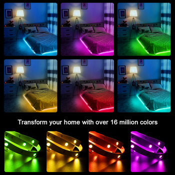 LED Strip Light ,RGB 5050/SMD2835, Flexible Ribbon, DIY Led Light Strip RGB  Tape Diode DC 12V Phone app bluetooth 2