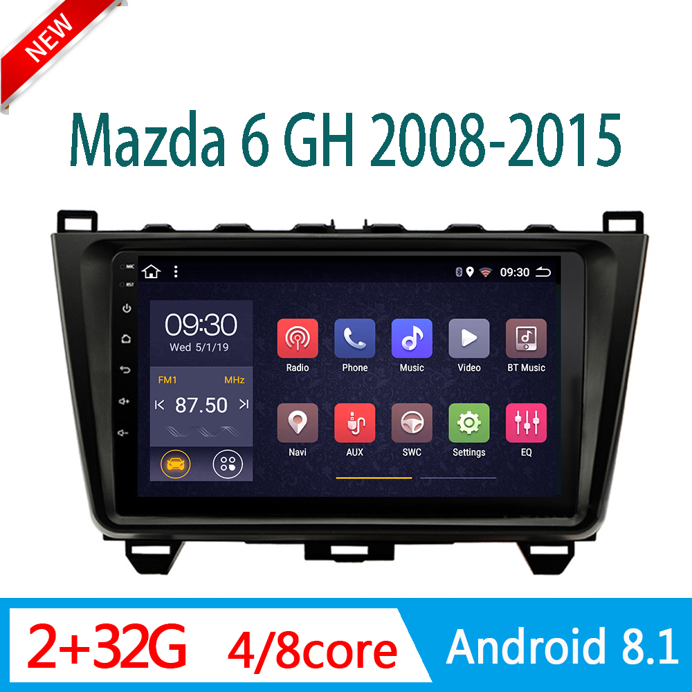 2GRAM car radio For <font><b>mazda</b></font> <font><b>6</b></font> GH 2008-2015 central Multimedia autoradio system DVD player am DSP RDS WIFI 1din Android mirror link image