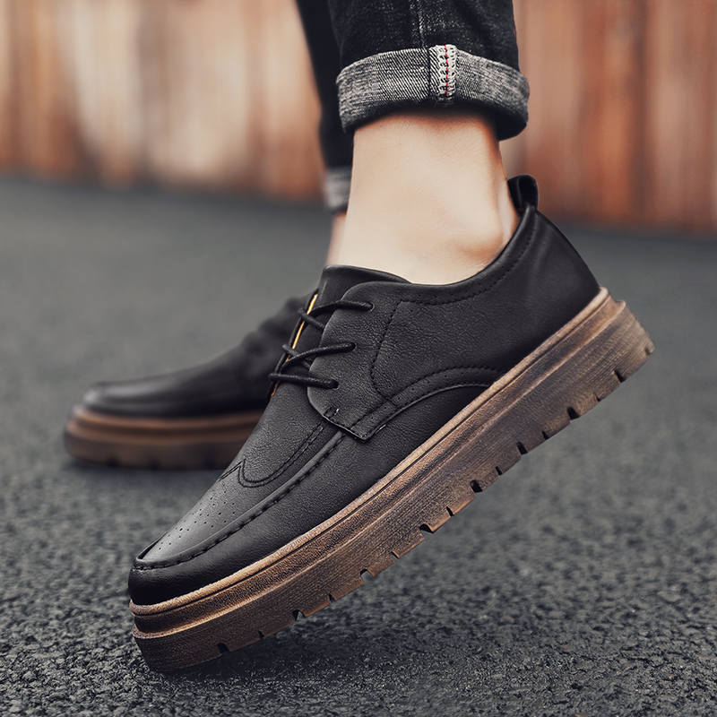 Men Shoes Leather Brogue Shoes Brand Fashion Business Outdoor Travel Casual Natural Footwear Male Classic Office Non-Slip Flats