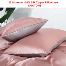 22MM 100% Mulberry Silk Zipper Pillowcase  Fashion Soft Pillow Case Duotone Style Color Pink and Silver