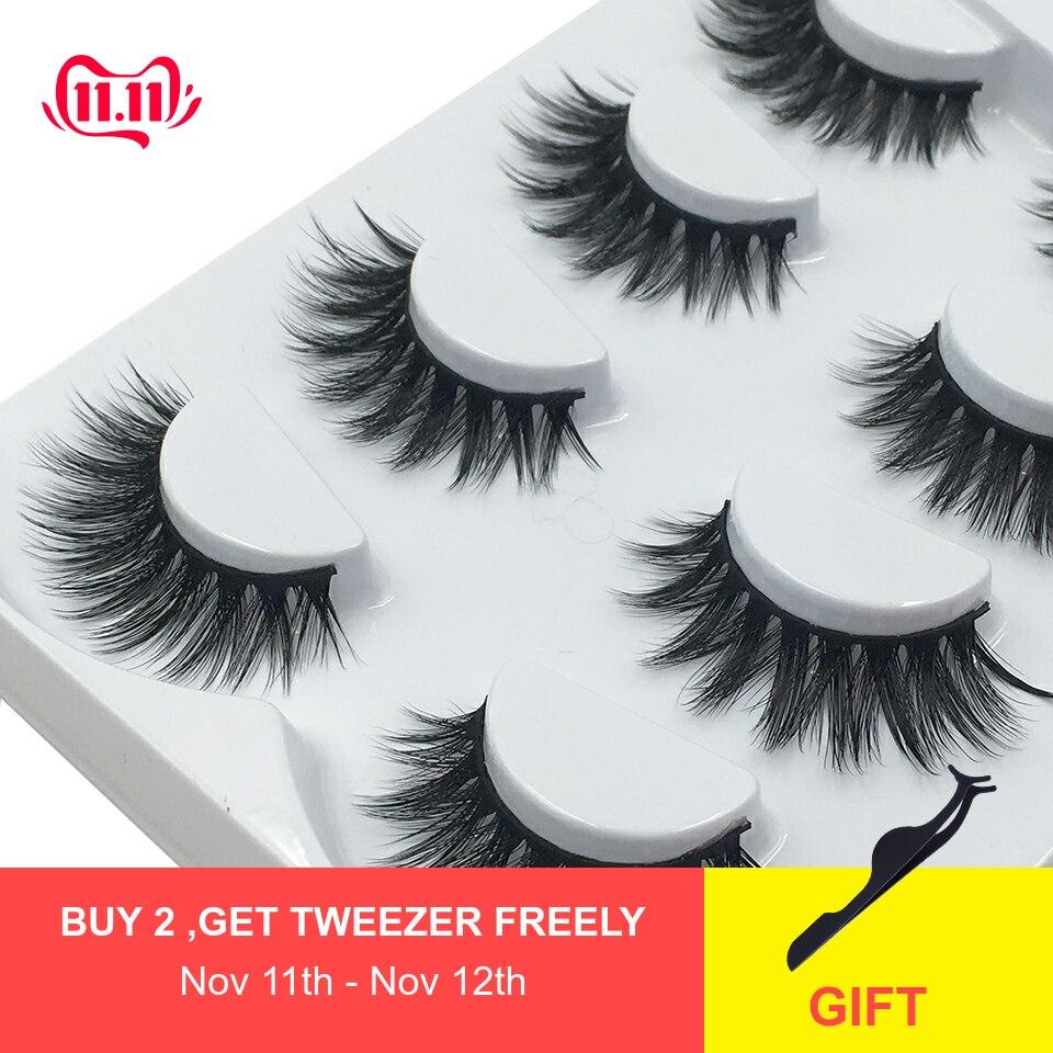 4 Pairs/Set Fake Eyelashes Wholesale Lasting Soft Volume Crisscross 3d Eyelashes Makeup Handmade Mink Eye Lashes L12
