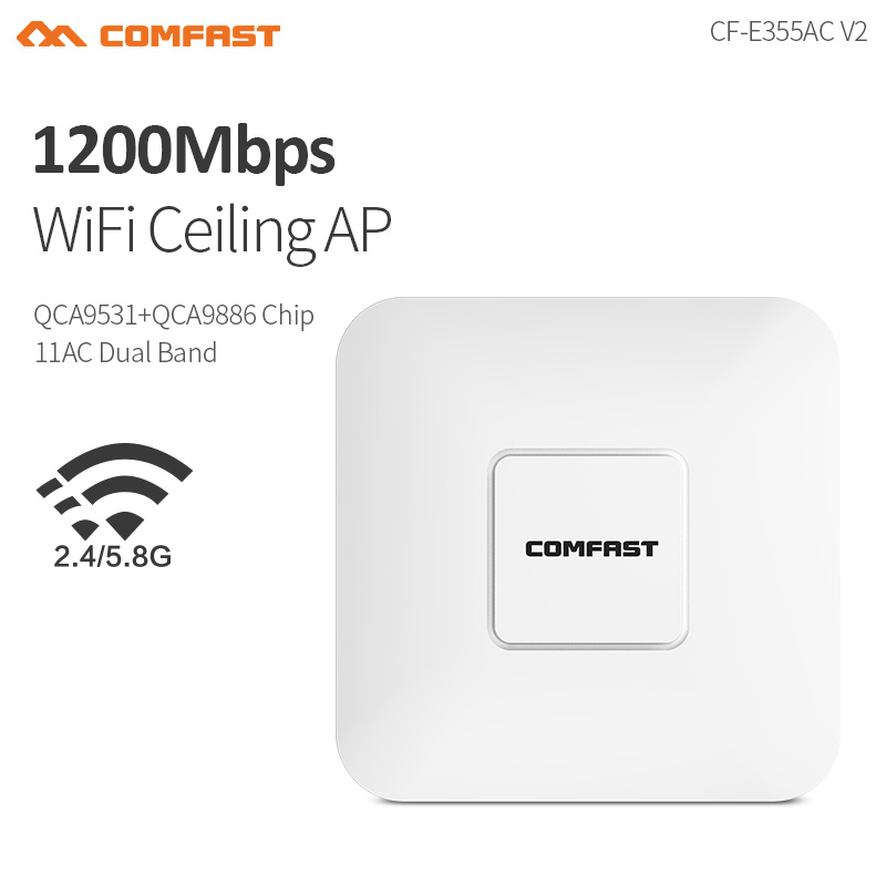 COMFAST E355AC Wireless 1200Mbps Ceiling Ap 802.11b/n/ac Dual Band 2.4G&5.8G Indoor Ap 48V Poe Power 16 Flash Wifi Access Point