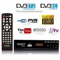 Free HD 1080p DVB-C Cable Tv Tuner Dvb T2 Digital TV Box Dvb-t2 Dual Tuner DVB C Receiver Satellite Decoder Dvbt2 Russian Manual