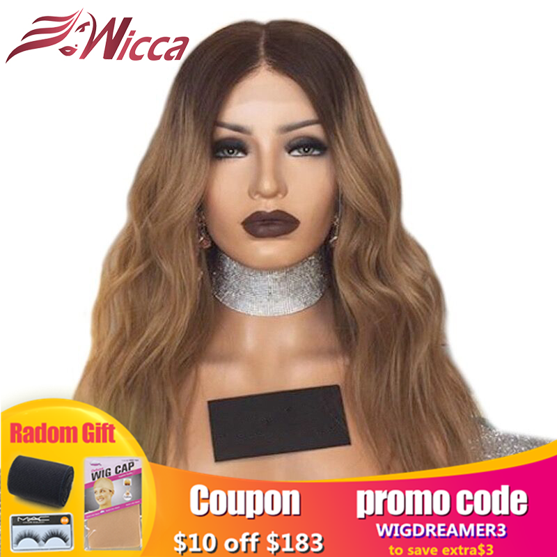 Wicca Brazilian Wavy 13x6 Lace Front Human Hair Wigs PrePlucked Honey Blonde Remy Hair Color Glueless Wig