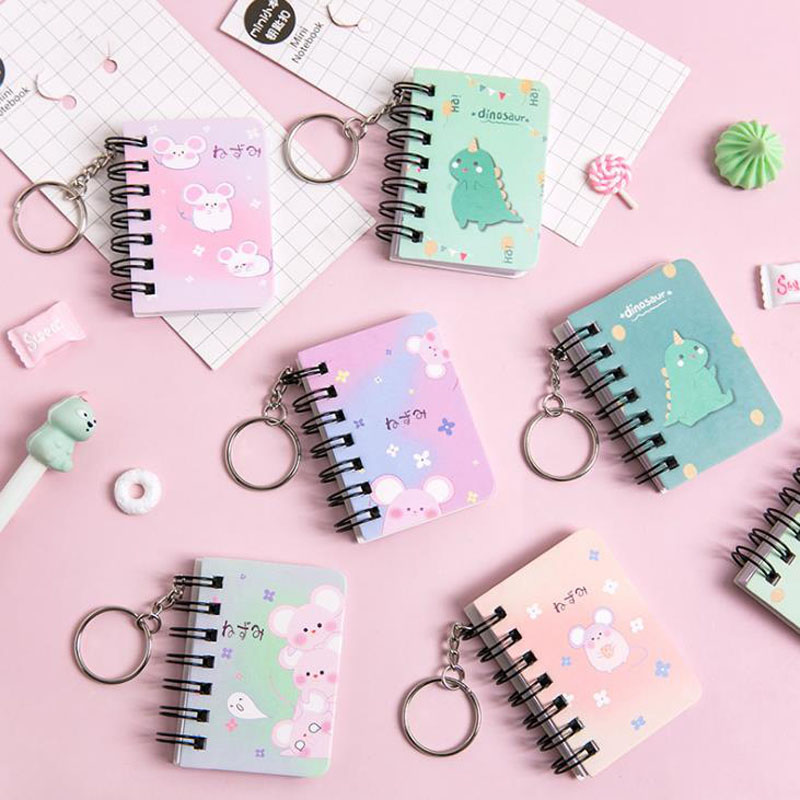 1 Pcs Cartoon Mini Animal Hamster Dinosaur Portable Spiral Notebooks Blank Word Card Keychains Notepad Student School Stationery