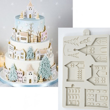Christmas Gingerbread House Silicone Mold Fondant Mould Cake Decorating Tools Chocolate, Gumpaste, Sugarcraft, Kitchen Gadgets 3d christmas house silicone mold fondant cake decorating tools chocolate plaster sugarcraft baking mould
