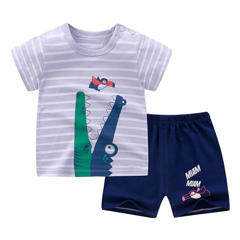2019 New Baby Boy Girl Short Sleeve Dinosaur Tops+Pants Pajamas Sleepwear Outfits
