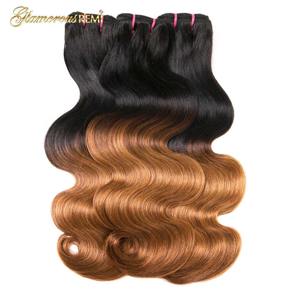 1b 27 Ombre Double Drawn Brazilian Body Wave Human Hair 3pcs 12-22inch Hair Weave Bundles Fumi Funmi  Remy Hair Extensions Women