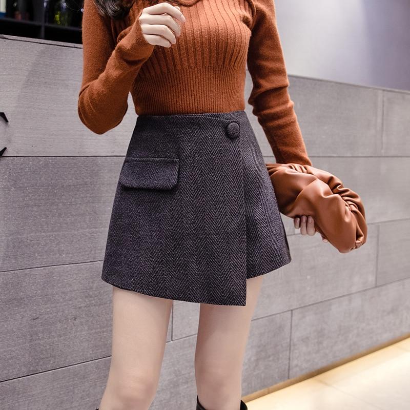 2019 New Korean Women Shorts Skirts Autumn Winter Fashion Irregular High Waist Wide Leg Woolen Shorts Female Casual Culottes