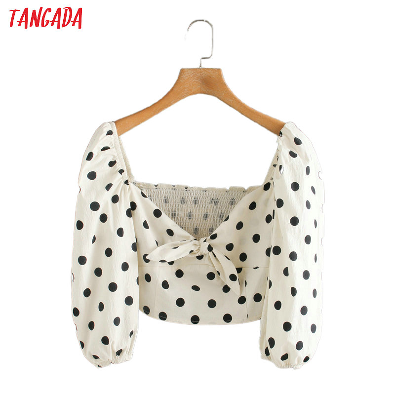Tangada Women Retro Dots Print Crop Blouse Pleated Zipper 2020 Chic Female Sexy Slim Beach Shirt Tops 5Z123
