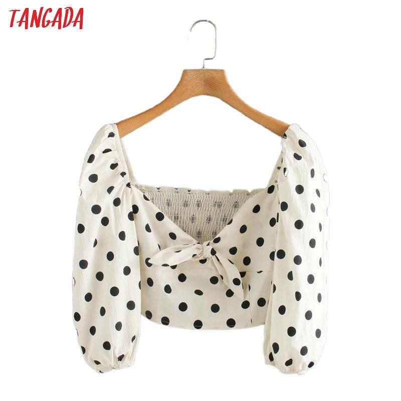 Tangada Women Retro Dots Print Crop Blouse Pleated Zipper 2020 Chic Female Sexy Slim Beach Shirt Tops 5Z123