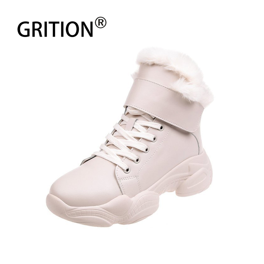 Promo GRITION Women Winter Boots Fashion Plush Comfort Non-slip Casual Shoes New Platform Waterproof Ankle Boots 2019 Warm Snow Boots
