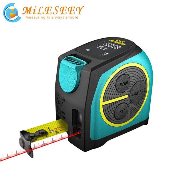 Mileseey DT10 לייזר סרט מדידה 2 in 1 דיגיטלי לייזר לייזר עם LCD תצוגה דיגיטלית, מגנטי וו