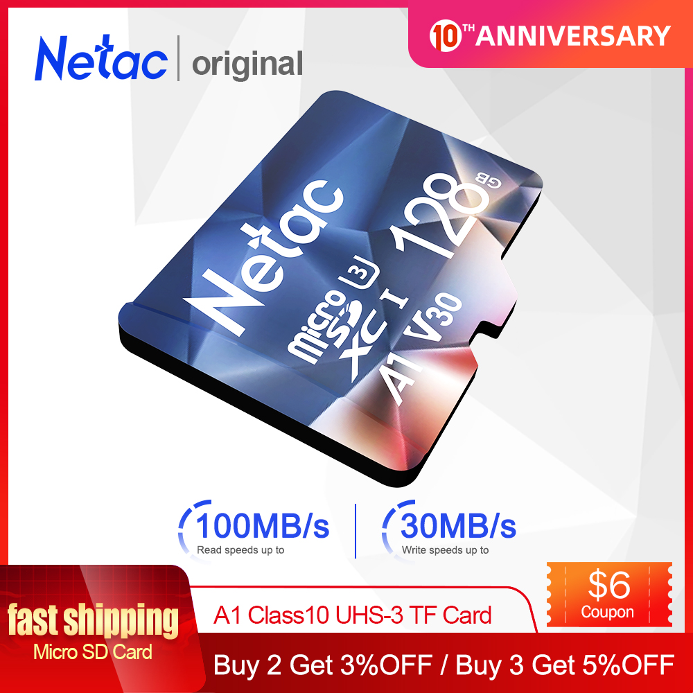 Netac Memory Card 128GB 32GB 16GB 100MB/S 64GB Micro SD Card A1 Class10 UHS-3 Flash Card Memory Microsd TF/SD Card Hot Sale P500