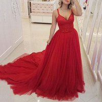 New Arrival 2020 Sexy V Neck Prom Gown Custom made Red Tulle Court Train Sleeveless Prom Dress for Party