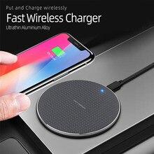 10W kablosuz şarj cihazı hızlı şarj alüminyum alaşımlı dairesel şarj pedi için LCD ışık ile iPhone Samsung daha fazla Qi özellikli cihaz