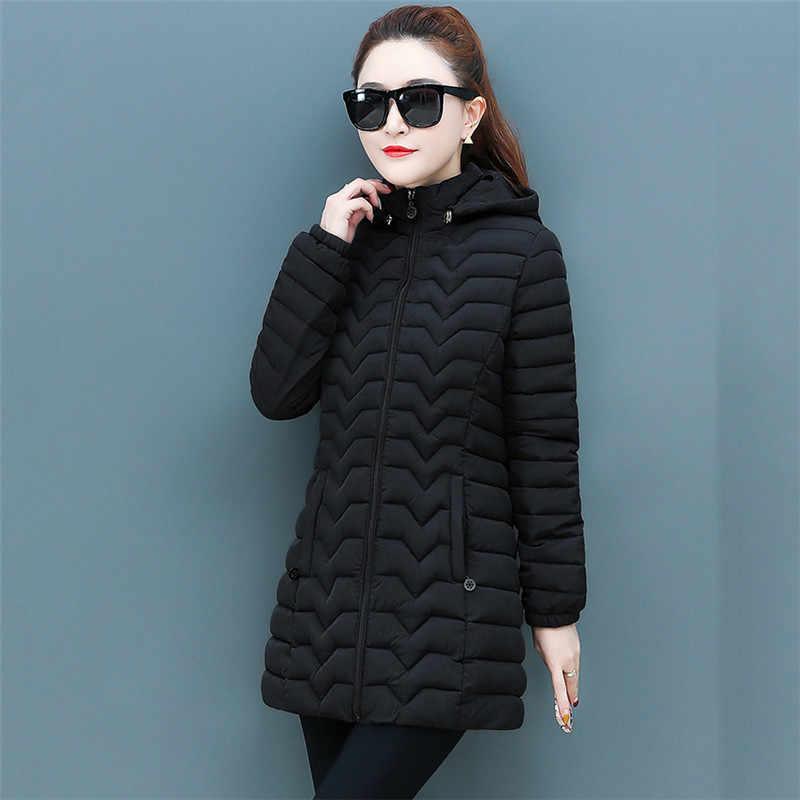 Куртка женская 2020 Осень Зима Новый светильник тонкий пуховик хлопок пальто Корейская мода серый свободного размера плюс с капюшоном парка Feminina LR945