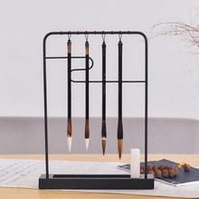 Wood Pen Hanging  Brush Calligraphy Pen Holder Resting Steel Frame Four Treasures Calligraphy Frame Accessories Kit