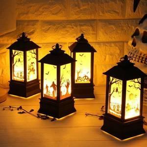 Image 1 - 4PC Halloween Decoration Christmas Hanging Prop Led Candles Light Vintage Castle Bat Pumpkin Lantern Flame Lamp Party Supplies