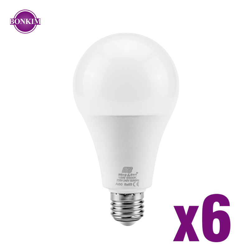 6pcs LED Bulb Light E27 E14 3W 5W 7W 9W 12W 15W 18W AC220V Smart IC LED Bulb Cold White Warm White Lampada Ampoule Bombilla Lamp