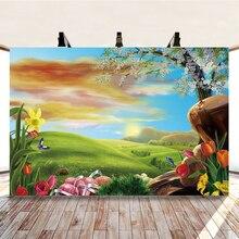 Yeele Cartoon zjawiskowy użytki zielone kwiaty pisanki fotografia tło fotograficzne dekoracje tło do zdjęć Studio
