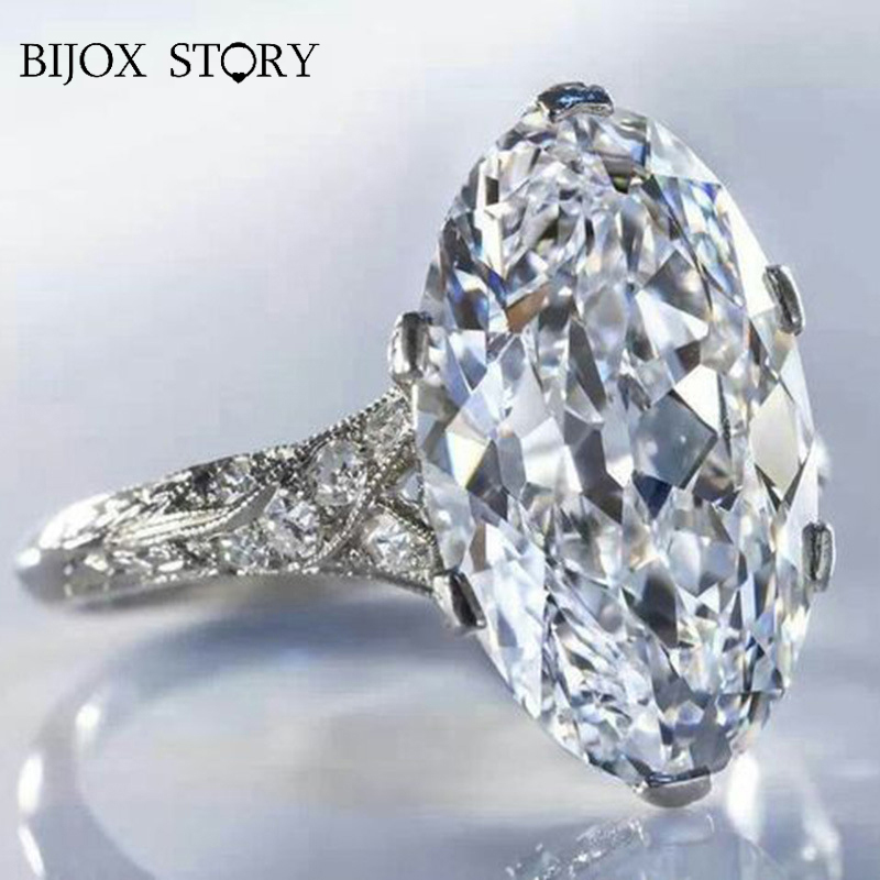 BIJOX STORY Fashion Charm Ring Silver 925 with 10*14mm Oval Shape Zircon Gemstone Rings for Female Wedding Anniversary Wholesale