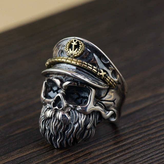 ORIGINAL 925 STERLING SILVER PIRATE CAPTAIN SKULL RING
