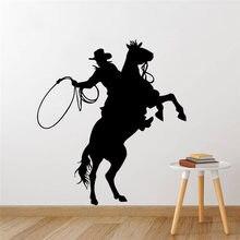 Autocollants muraux en vinyle pour Cowboy, étiquette amovible, pour équitation, affiche d'art, Poter AY1868