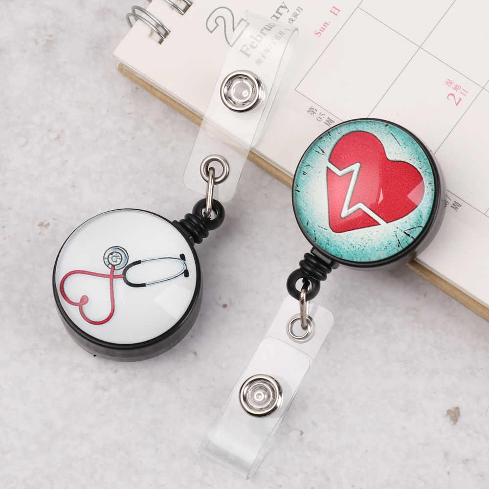 Anti-Lost Clip Retractable Badge Holder Key Ring Nurse ID Name Card Lanyards