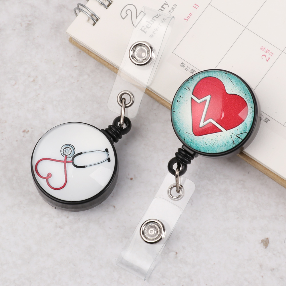 Cartoon Cute Heart-shaped Retractable Badge Reel Nurse Display ID Name Card Badge Holder Mini ID Lanyard KeyRing Office Supplies