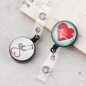 Cute Heart-shaped Retractable Badge Reel Cartoon Nurse Display ID Name Card Badge Holder Mini ID Lanyard High Quality Key Ring
