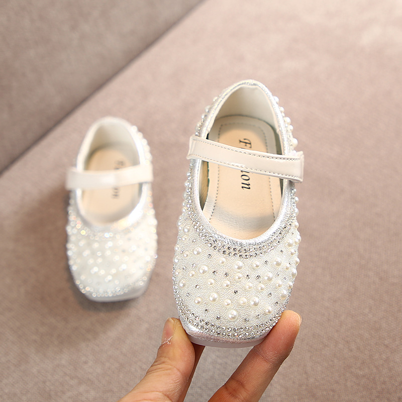 Image 3 - Cladoudou 11.5 15.5cm Brand Fashion Glitter Girls Flats Shoes with Full Pearls Gold Pink Bling Rhinestone Princess Dress ShoesLeather Shoes   -