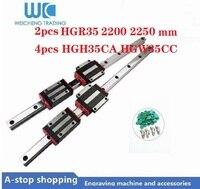 2 pces 35mm guia linear hgr35 longo 2200/2250mm e 4 pces hgh35ca ou hgw35cc guia linear trilhos bloco feito à máquina para peças cnc|Guias lineares| |  -