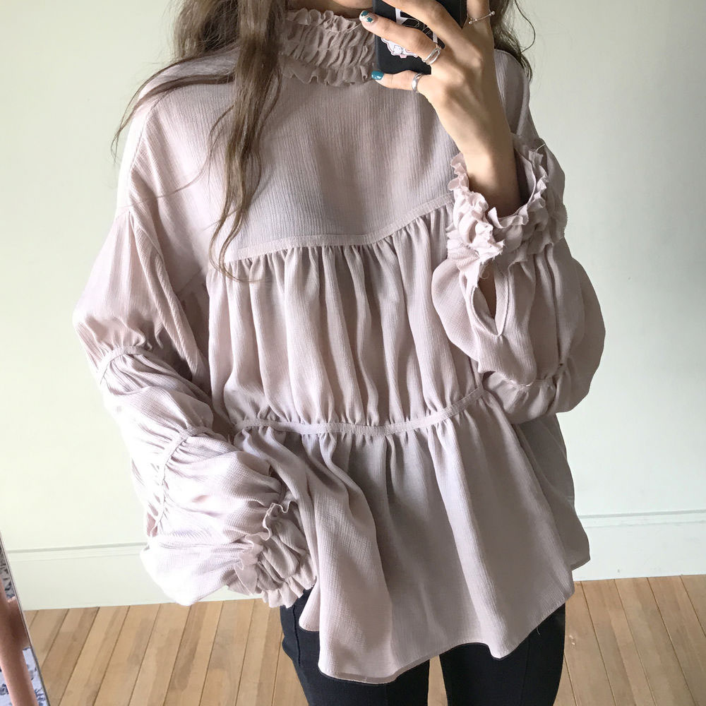 Blouse Women Shirt Solid Color 20200 New  Ruffle High Folds Collar  Doll  Long Sleeve Female All Match Fashion Casual Elegent