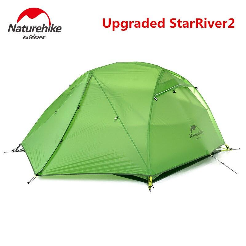 Naturehike-tienda de campaña al aire libre para 2 personas, tela de silicona 20D ultraliviana mejorada, impermeable, de doble capa