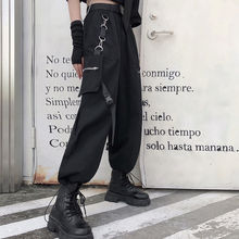 Trousers Leg-Pants Oversized Hip-Hop QWEEK Punk Black Korean-Style High-Waist Women 4xl