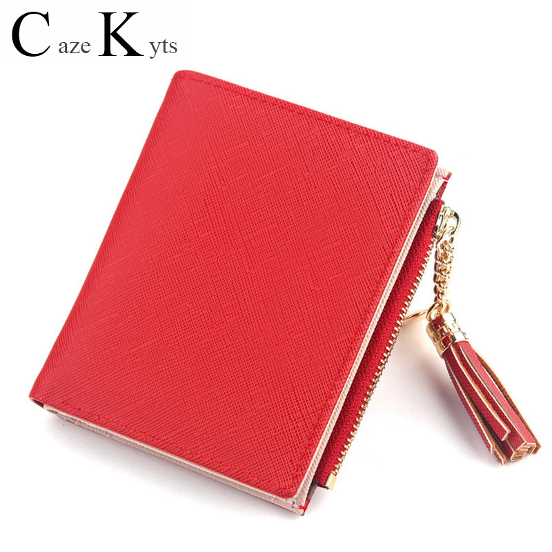 Genuine Leather Ladies Short Cute Fashion Trend Small Wallet With Metal Tassel Buckle Zipper Style Ladies Purses Free Shipping