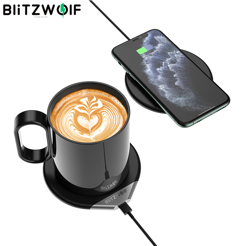 BlitzWolf WCC1 2 In 1 Smart Coffee Mug Warmer 55°C/131°F & Wireless Charger Milk Tea Beverage Heating Warmer With 350ml Mug|Wireless Chargers| - AliExpress